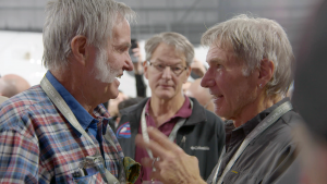 Harrison Ford visits with Burt following the event